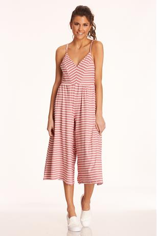 Striped Culotte Jumpsuit ROSE