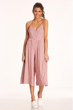 Striped Culotte Jumpsuit ROSE