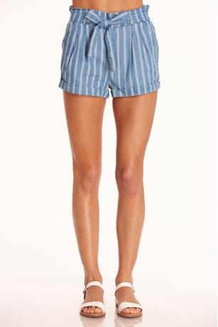 Denim Stripe Paperbag Shorts LIGHT WASH
