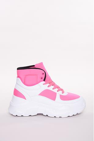 High-Top Colorblock Sneakers FUSCHIA