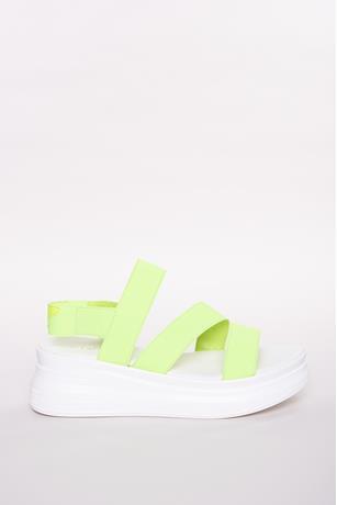 Neon Stretch-Strap Platform Sandals