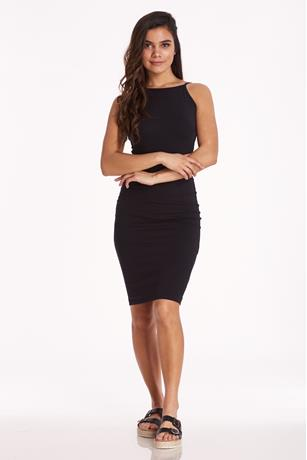 Halter Midi Dress BLACK