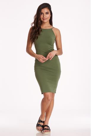 Halter Midi Dress OLIVE