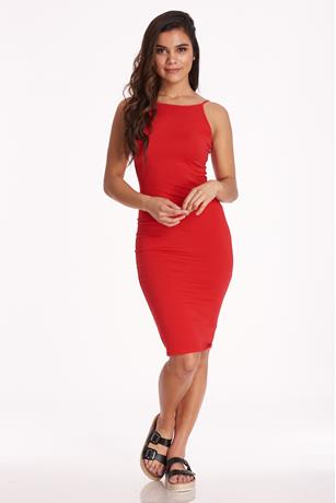 Halter Midi Dress RED