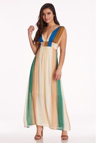 Multicolor Stripe Maxi Dress MULTI