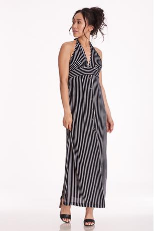 Halter Striped Maxi Dress BLACK