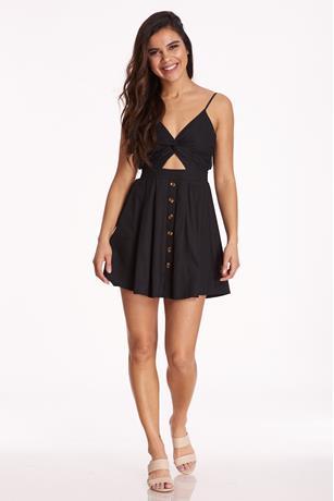 Cutout Button-Up Dress BLACK