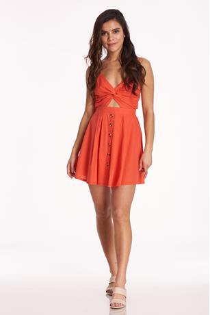 Cutout Button-Up Dress RED