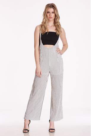 Striped Suspender Jumpsuit WHITE