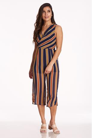Stripe Surplice Culotte Jumpsuit