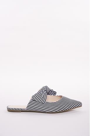 04697777c158 Striped Bow Strap Flats BLKWHT