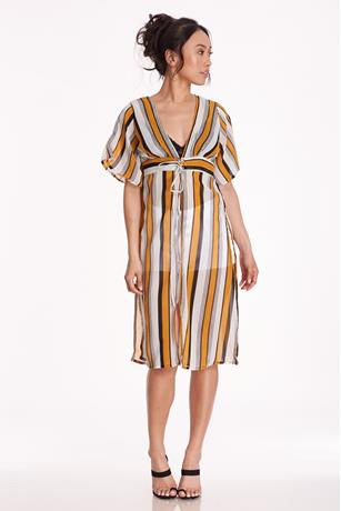 Striped Grommet Duster