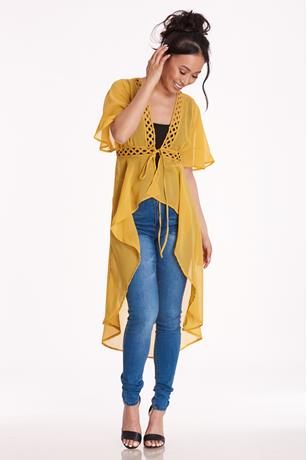 Mustard Crochet Tie-Front Duster