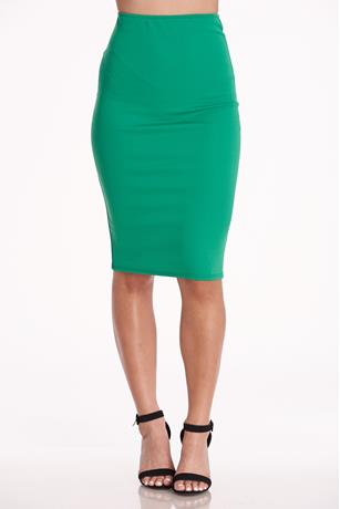 High-Waist Midi Skirt GREEN
