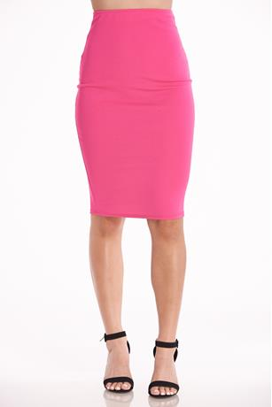 High-Waist Midi Skirt HOT PINK