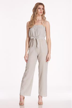 Elastic Top Stripe Jumpsuit