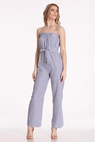 Elastic Top Stripe Jumpsuit NAVY