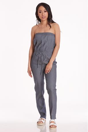 Chambray Tube Jumpsuit