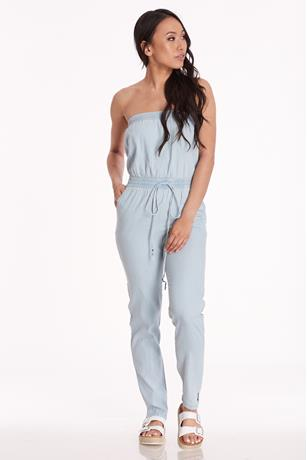 Chambray Tube Jumpsuit LIGHT WASH