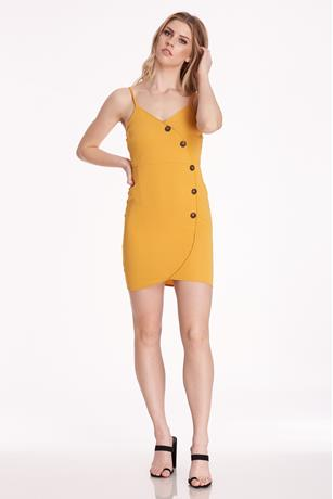 Button Side Dress MUSTARD