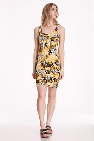 Printed Tank Midi Dress YELLOW