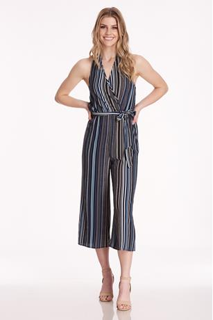 Stripe Halter Jumpsuit NAVY