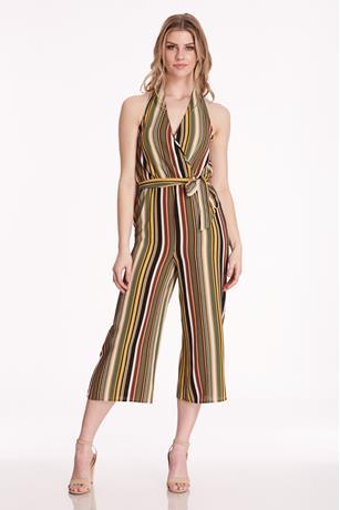 Stripe Halter Jumpsuit OLIVE