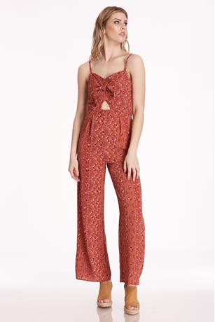Printed Cutout Jumpsuit RUST