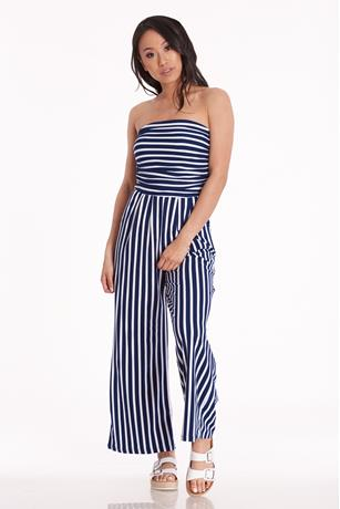 Striped Tube Jumpsuit NAVY