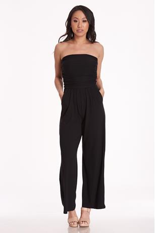 Ruched Tube Jumpsuit BLACK