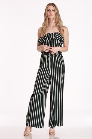 Striped Flounce Jumpsuit BLACK