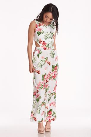 Tropical Cutout Jumpsuit IVORY