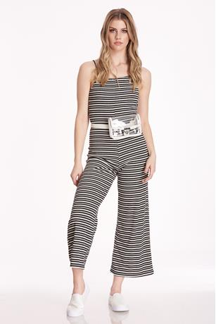 Open Back Striped Jumpsuit BLACK