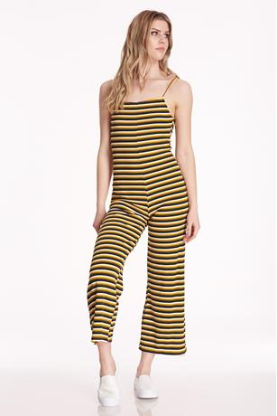 Open Back Striped Jumpsuit MUSTARD