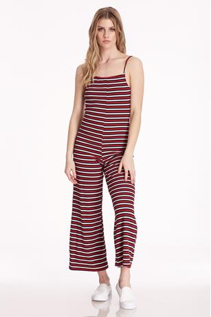 Open Back Striped Jumpsuit RED