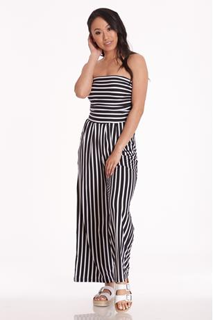 Striped Tube Jumpsuit BLACK