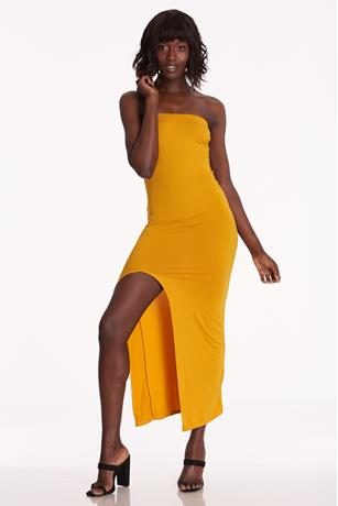 Brushed Slit Dress MUSTARD