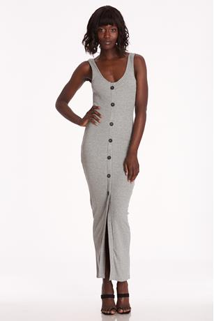 Ribbed Button-Front Maxi Dress HEATHER