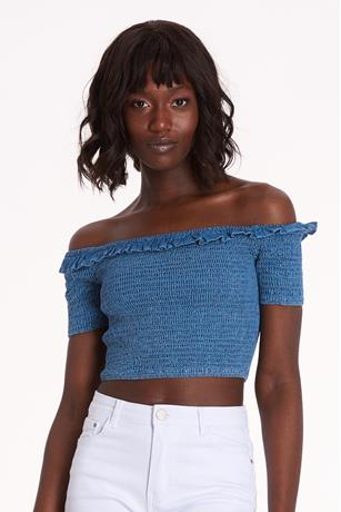 Smocked Chambray Crop Top MED WASH