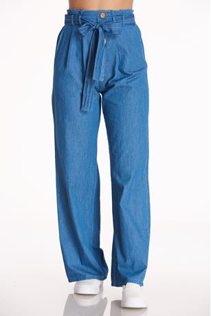 Chambray High-Rise Pants