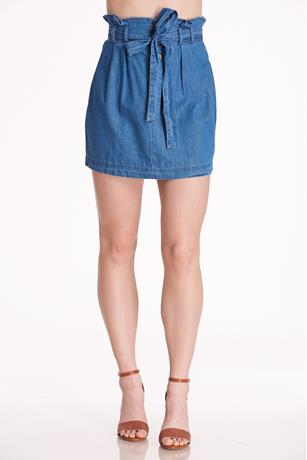 Chambray Button-Up Skirt MED WASH