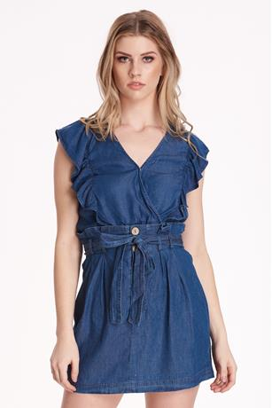 Ruffle Front Denim Top DARK WASH