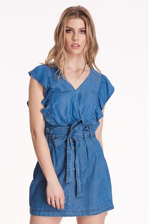 Ruffle Front Denim Top MED WASH