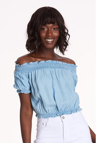 Chambray Off Shoulder Top LIGHT WASH
