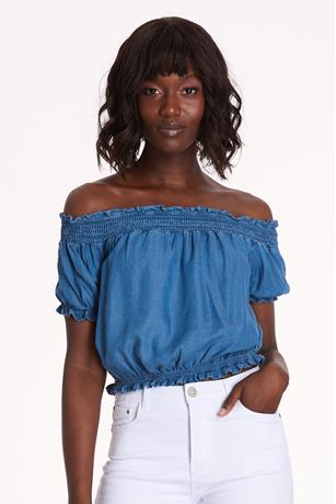 Chambray Off Shoulder Top MED WASH