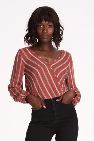 Striped Surplice Top RUST