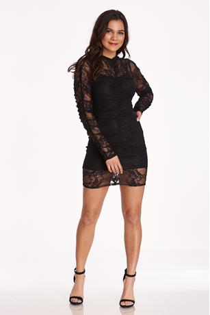 Sheer Floral Lace Dress BLACK