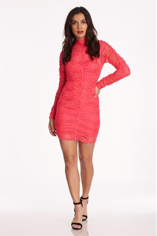 Sheer Floral Lace Dress CORAL