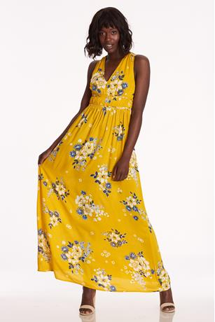 Floral V-Neck Dress YELLOW