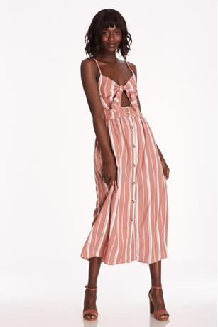 Striped Cutout Maxi Dress RUST
